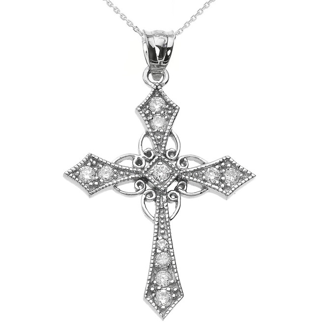 White Gold Diamond Celtic Cross Pendant Necklace