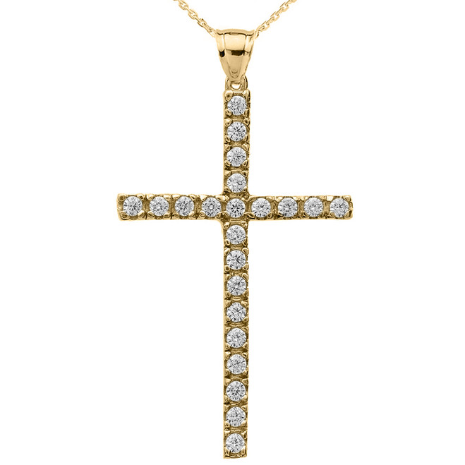 Yellow Gold Cubic Zirconia Cross Pendant Necklace