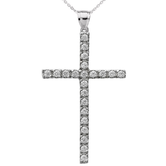 White Gold Cubic Zirconia Cross Pendant Necklace