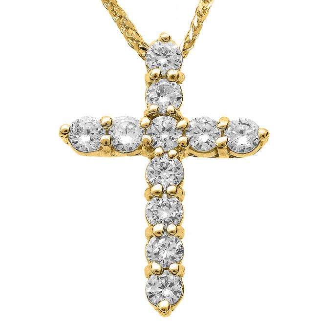 14k Yellow Gold Round Diamond Cross Necklace
