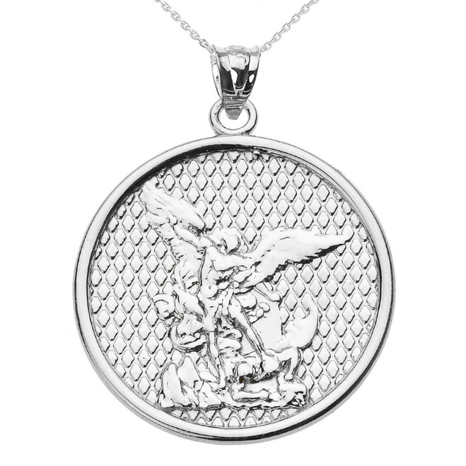White Gold Saint Michael Pendant Necklace