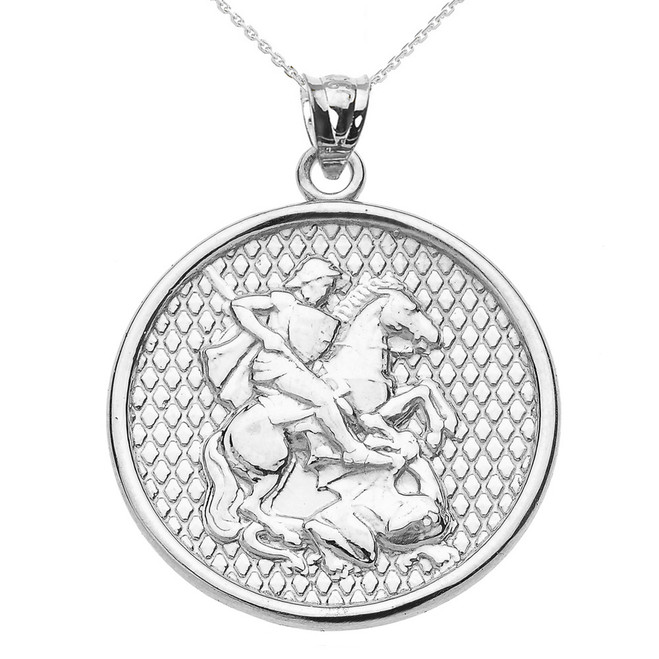 White Gold Saint George Pendant Necklace