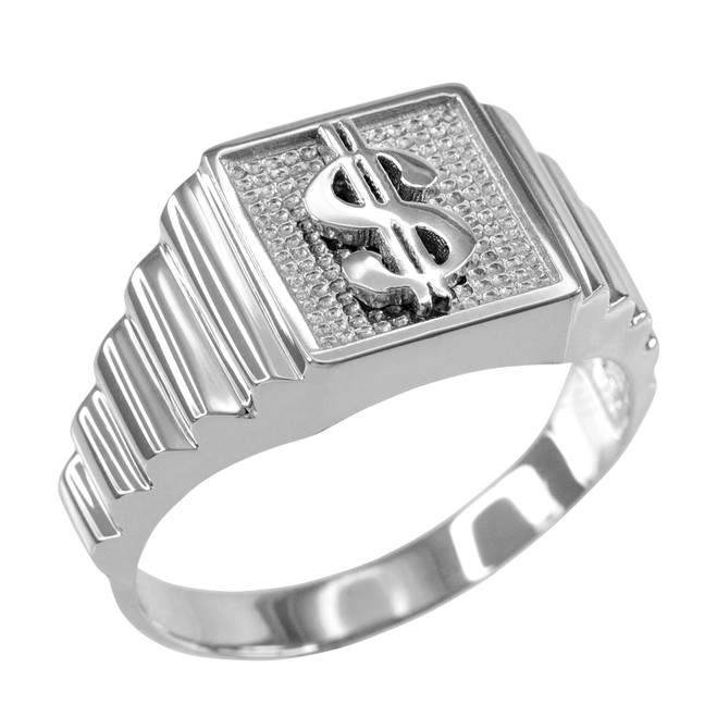 Sterling Silver Dollar Sign Square Mens Ring