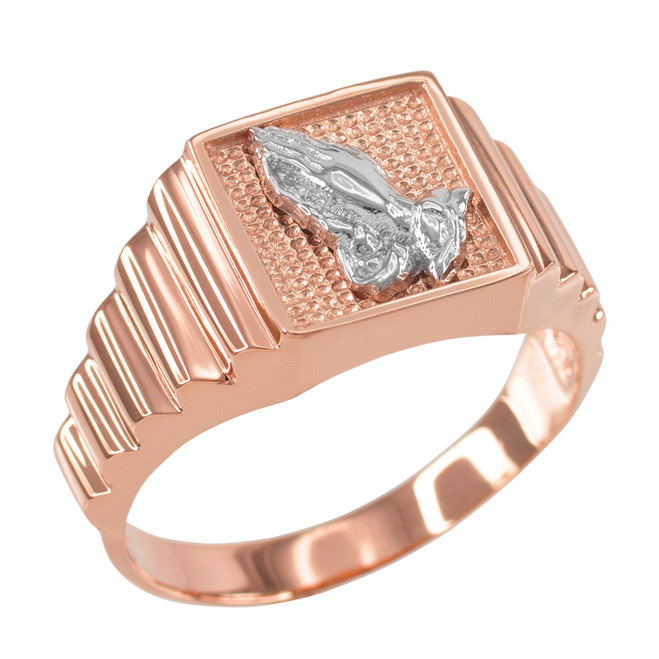 Rose Gold Praying Hands Square Mens Ring