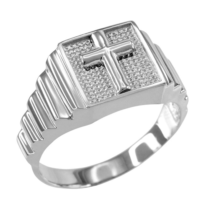 Sterling Silver Cross Square Mens Ring