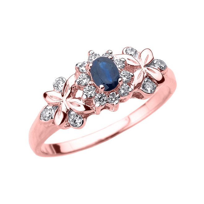 Rose Gold Oval Sapphire and Diamond Engagement Ring