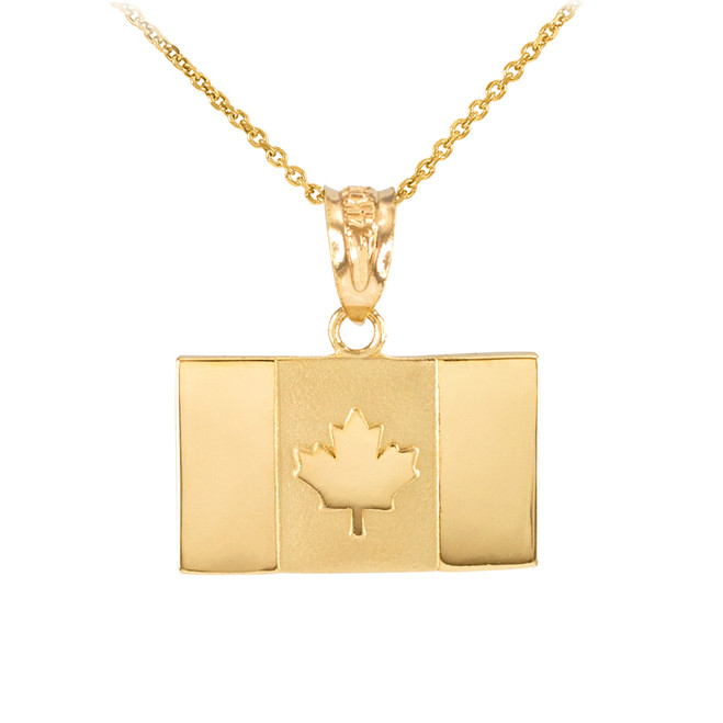 Solid Gold Canada Flag Charm Pendant Necklace