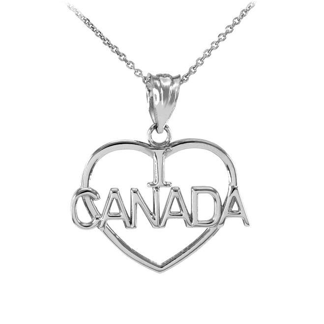 Silver Open Heart Shaped I Love CANADA Pendant Necklace