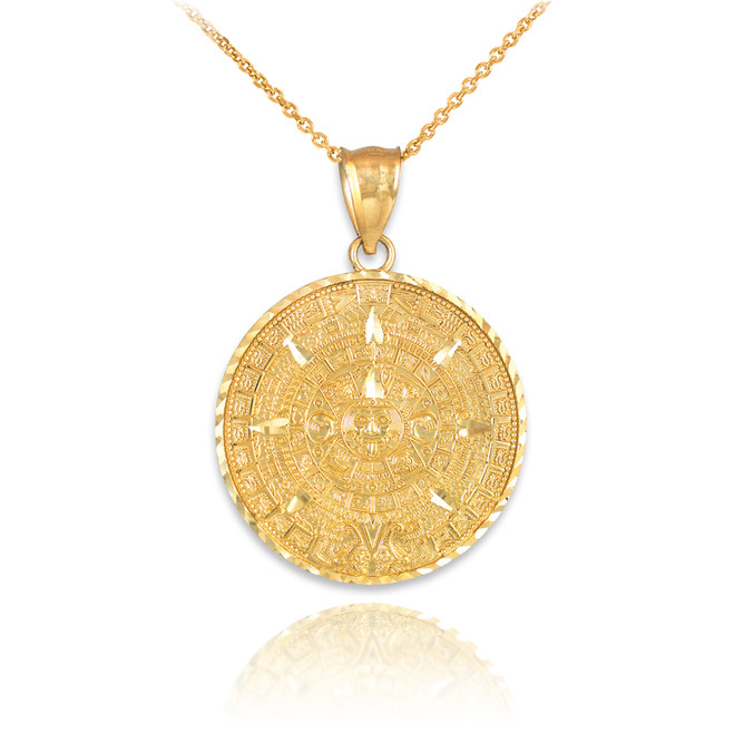 Gold Aztec Mayan Sun Calendar Pendant Necklace