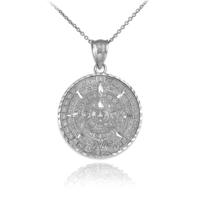 Silver Aztec Mayan Sun Calendar Pendant Necklace
