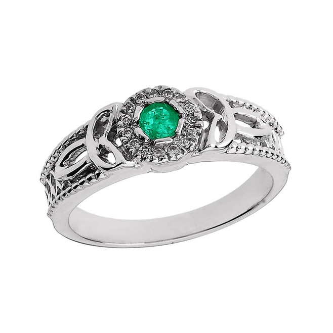 White Gold Ladies Emerald and Diamond Trinity Knot Proposal Ring