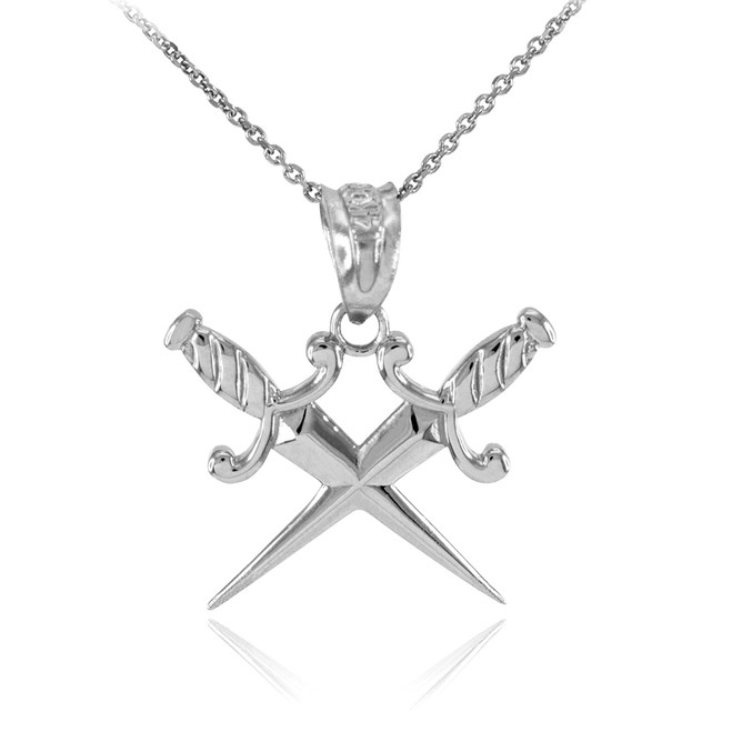 White Gold Crossed Daggers Pendant Necklace