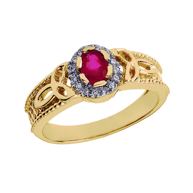 Yellow Gold 0.25 Carat Ruby and Diamond Trinity Knot Ladies Proposal Ring