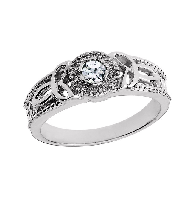 White Gold Ladies Diamond Trinity Knot Proposal Ring