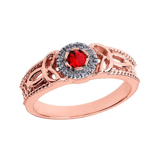 Rose Gold Ladies Genuine Ruby and Diamond Trinity Knot Proposal Ring