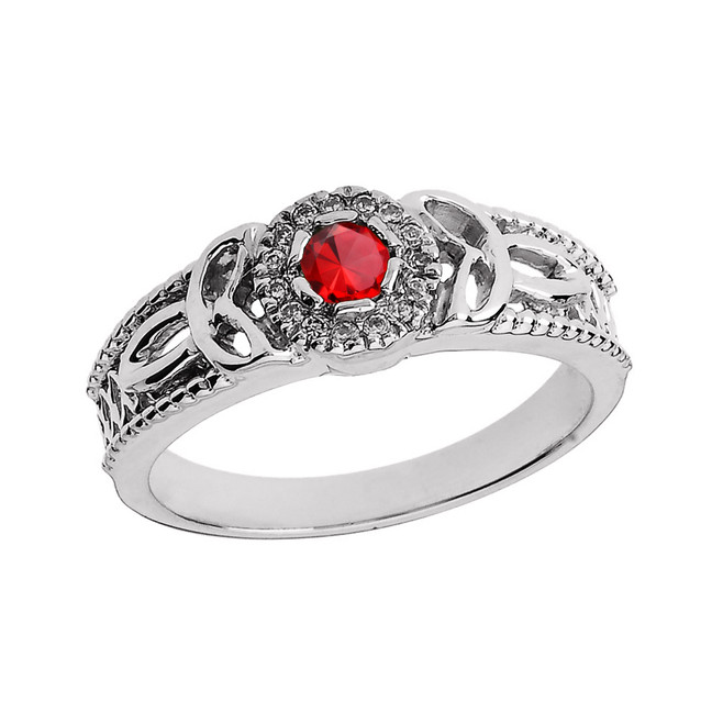 White Gold Ladies Genuine Ruby and Diamond Trinity Knot Proposal Ring