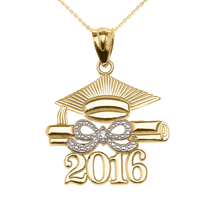 Yellow Gold Class of 2016 Graduation Cap Pendant Necklace with Diamond