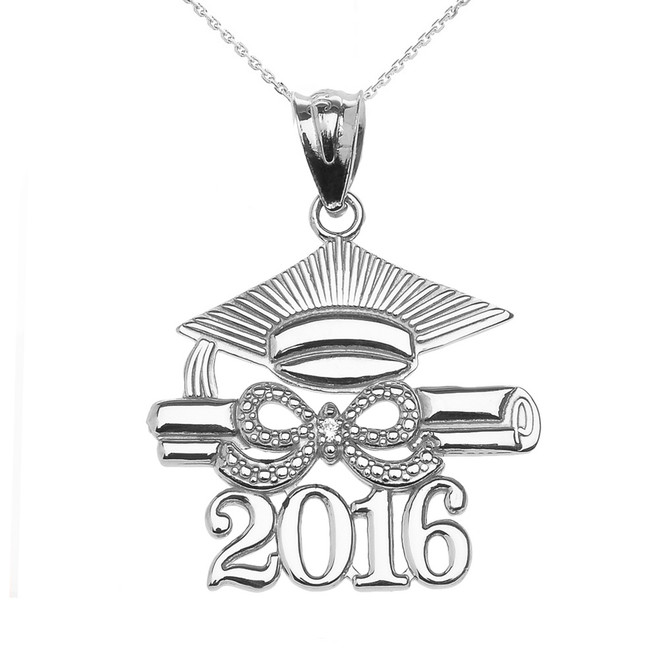 925 Sterling Silver Class of 2016 Graduation Cap Pendant Necklace with Diamond