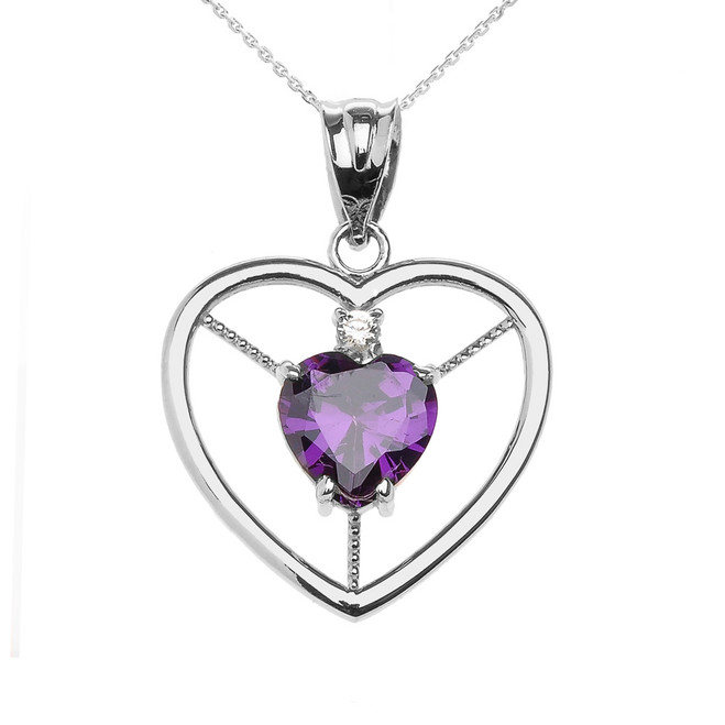 Elegant White Gold Amethyst and Diamond Solitaire Heart Pendant Necklace