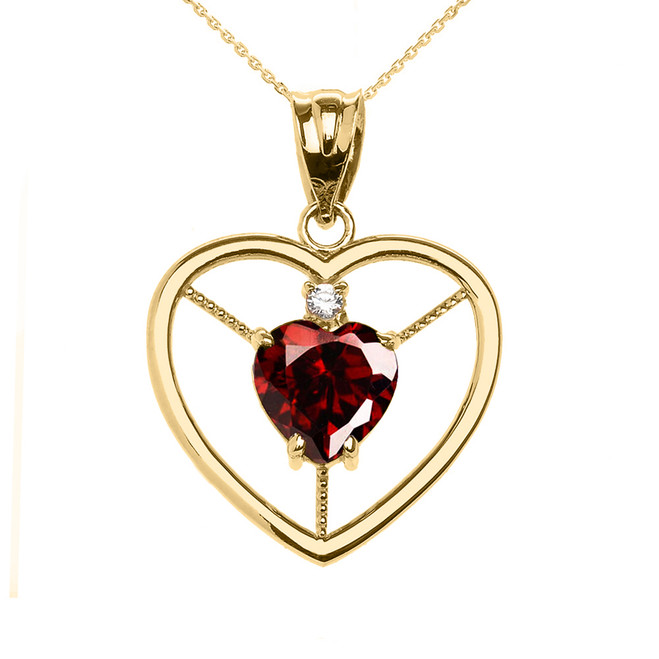 Elegant Yellow Gold Garnet and Diamond Solitaire Heart Pendant Necklace