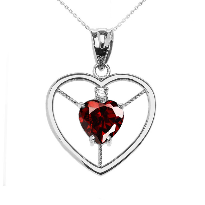Elegant White Gold Garnet and Diamond Solitaire Heart Pendant Necklace