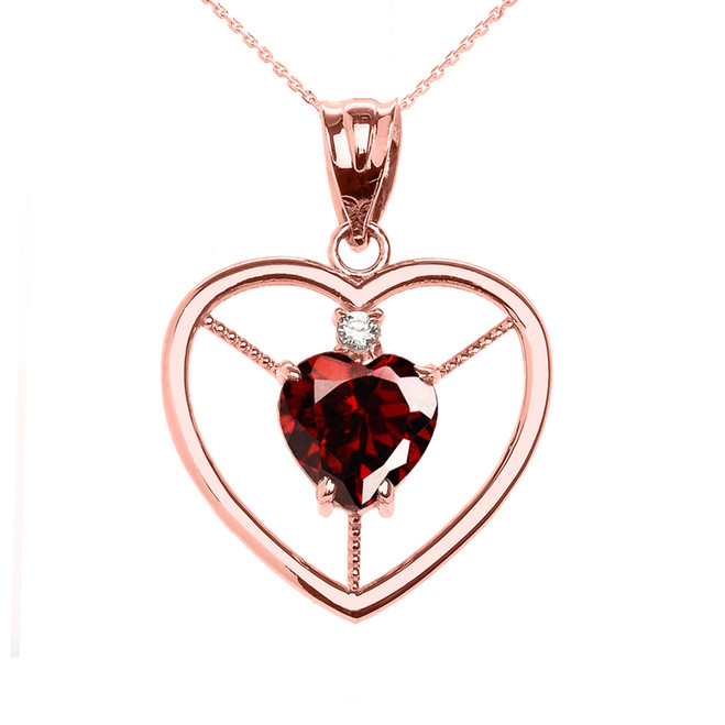 Elegant Rose Gold Garnet and Diamond Solitaire Heart Pendant Necklace