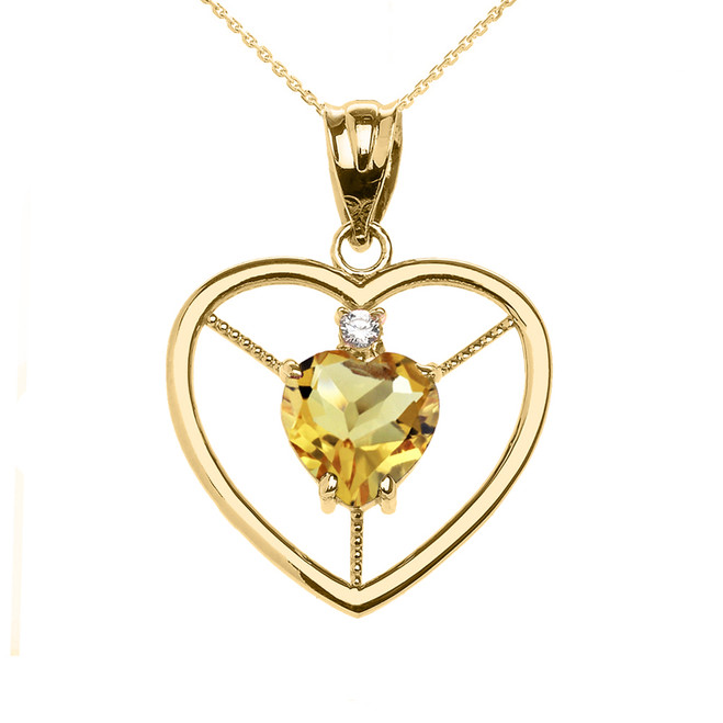 Elegant Yellow Gold Citrine and Diamond Solitaire Heart Pendant Necklace