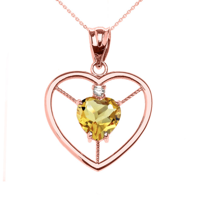 Elegant Rose Gold Citrine and Diamond Solitaire Heart Pendant Necklace