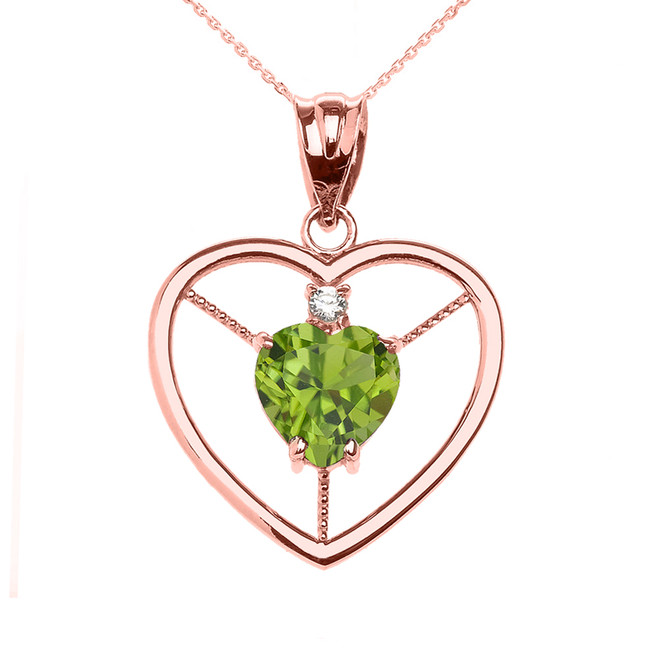 Elegant Rose Gold Peridot and Diamond Solitaire Heart Pendant Necklace