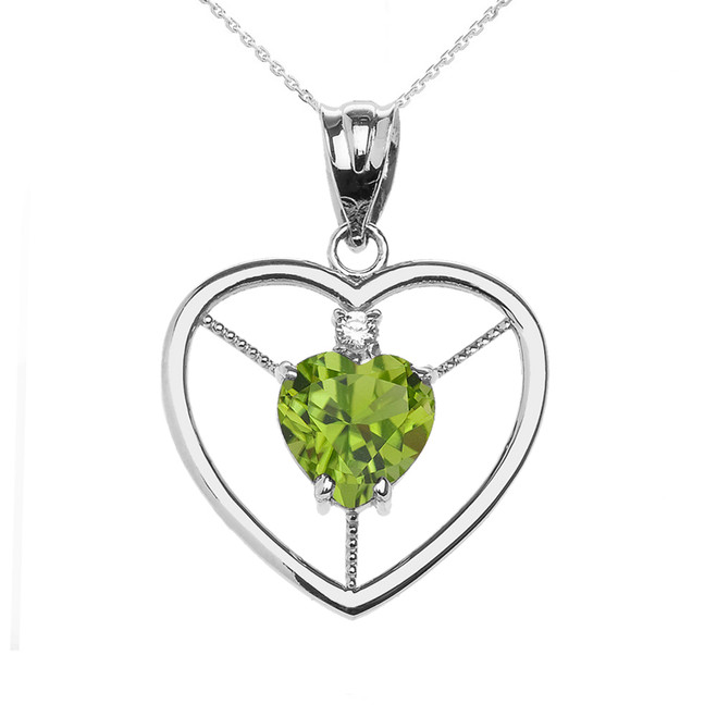 Elegant White Gold Peridot and Diamond Solitaire Heart Pendant Necklace