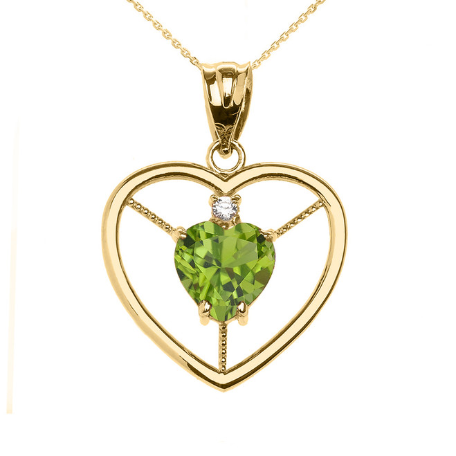 Elegant Yellow Gold Peridot and Diamond Solitaire Heart Pendant Necklace