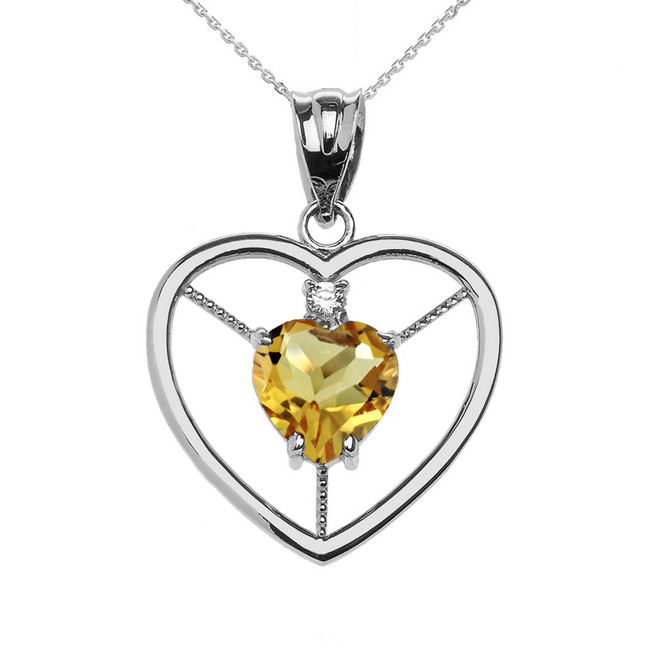 Elegant Sterling Silver Diamond and November Birthstone Yellow Heart Solitaire Pendant Necklace