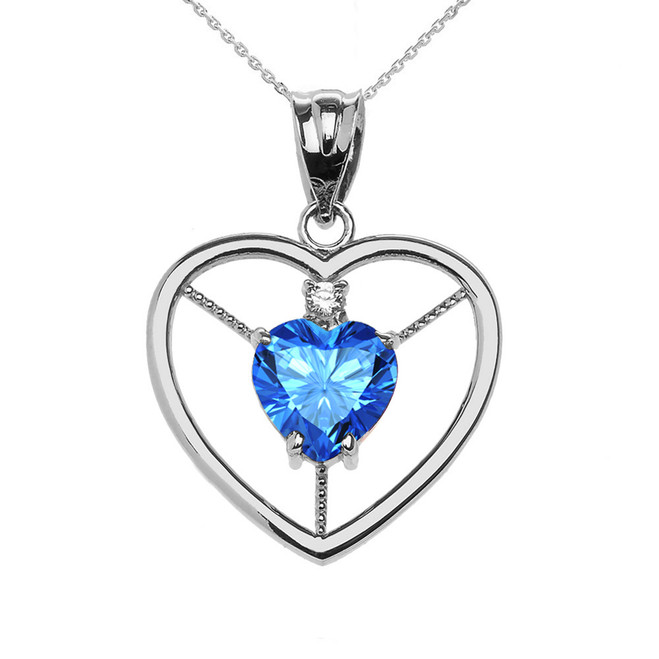 Elegant Sterling Silver Diamond and December Birthstone Light Blue Heart Solitaire Pendant Necklace