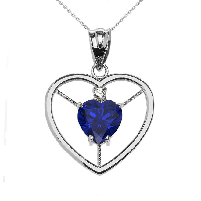 Elegant Sterling Silver Diamond and September Birthstone Blue CZ  Heart Solitaire Pendant Necklace