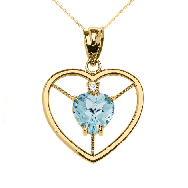 Elegant Yellow Gold Diamond and March Birthstone Light Blue Aqua Heart Solitaire Pendant Necklace