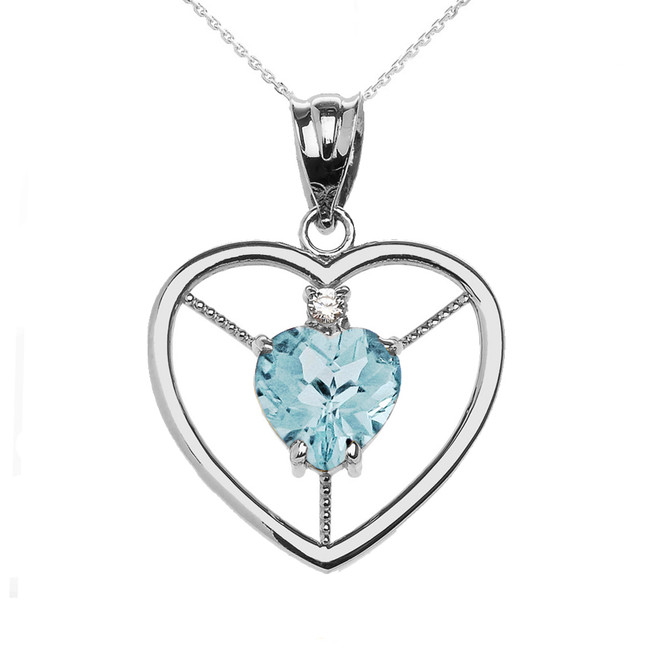 Elegant Sterling Silver Diamond and March Birthstone Aqua CZ  Heart Solitaire Pendant Necklace