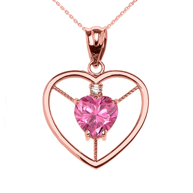 Elegant Rose Gold Diamond and October Birthstone Pink CZ Heart Solitaire Pendant Necklace