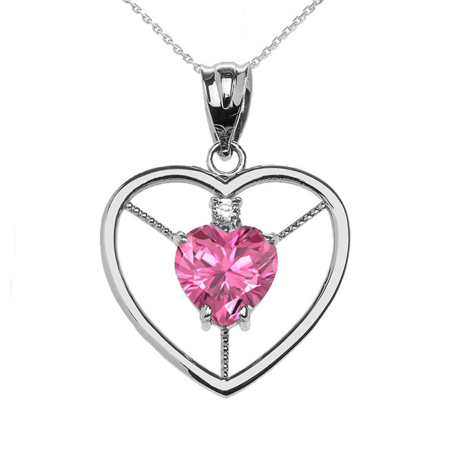 Elegant White Gold Diamond and October Birthstone Pink CZ Heart Solitaire Pendant Necklace
