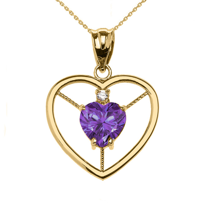 Elegant Yellow Gold Diamond and June Birthstone Light Purple CZ Heart Solitaire Pendant Necklace