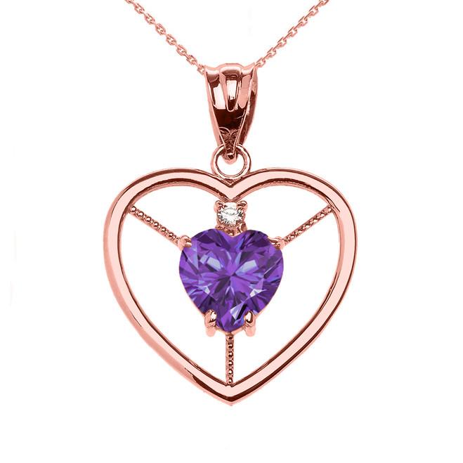 Elegant Rose Gold Diamond and June Birthstone Light Purple CZ Heart Solitaire Pendant Necklace