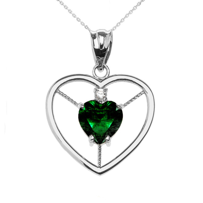 Elegant White Gold Diamond and May Birthstone Green CZ Heart Solitaire Pendant Necklace