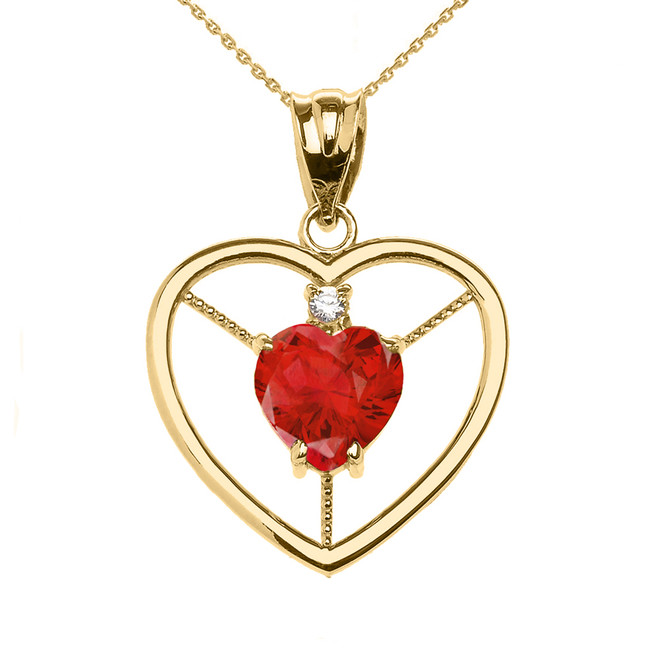 Elegant Yellow Gold Diamond and July Birthstone Red CZ Heart Solitaire Pendant Necklace