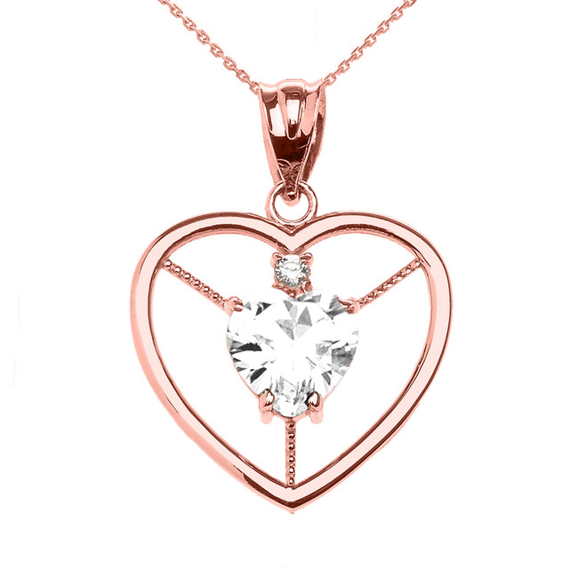 Elegant Rose Gold Diamond and April Birthstone White CZ Heart Solitaire Pendant Necklace