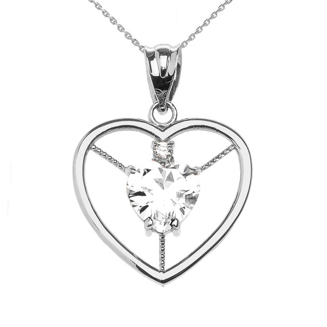 Elegant White Gold Diamond and April Birthstone White CZ Heart Solitaire Pendant Necklace