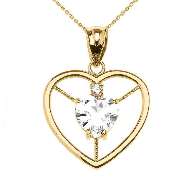 Elegant Yellow Gold Diamond and April Birthstone White CZ Heart Solitaire Pendant Necklace