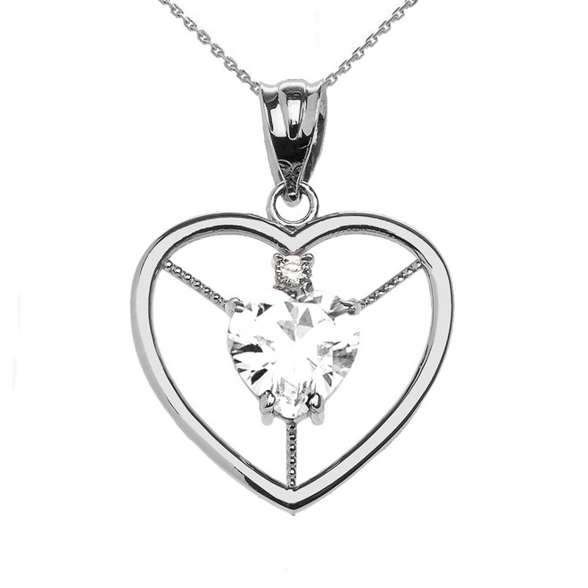 Elegant Sterling Silver Diamond and April Birthstone White CZ Heart Solitaire Pendant Necklace