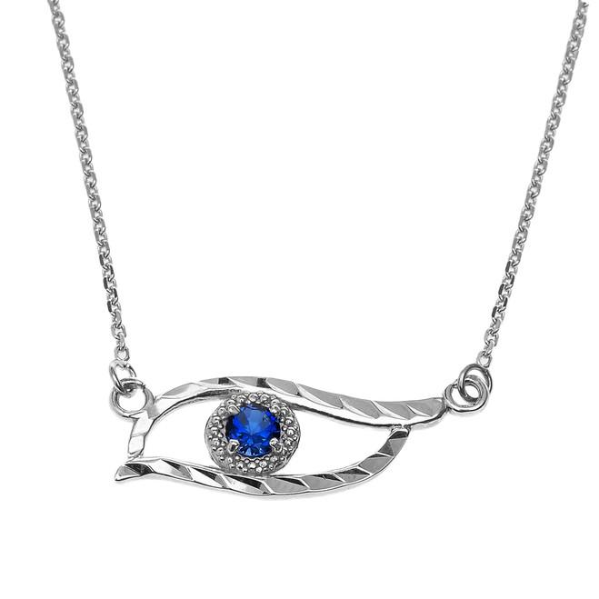 Sterling Silver Diamond Cut Blue CZ  Evil Eye Pendant Necklace