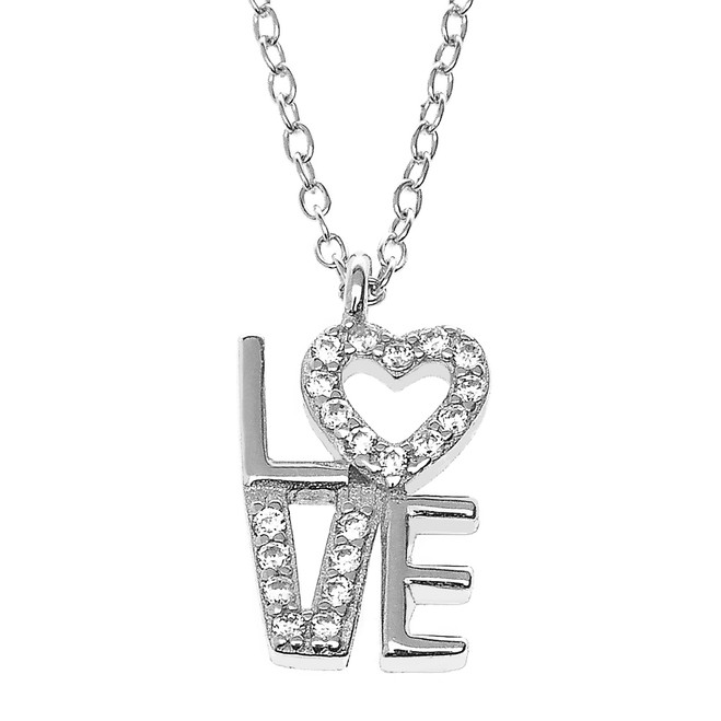 Sterling Silver and CZ LOVE Heart Pendant Necklace