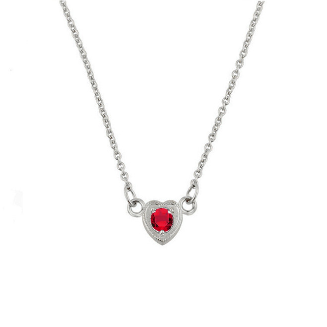 Sterling Silver Red CZ Dainty Heart Necklace