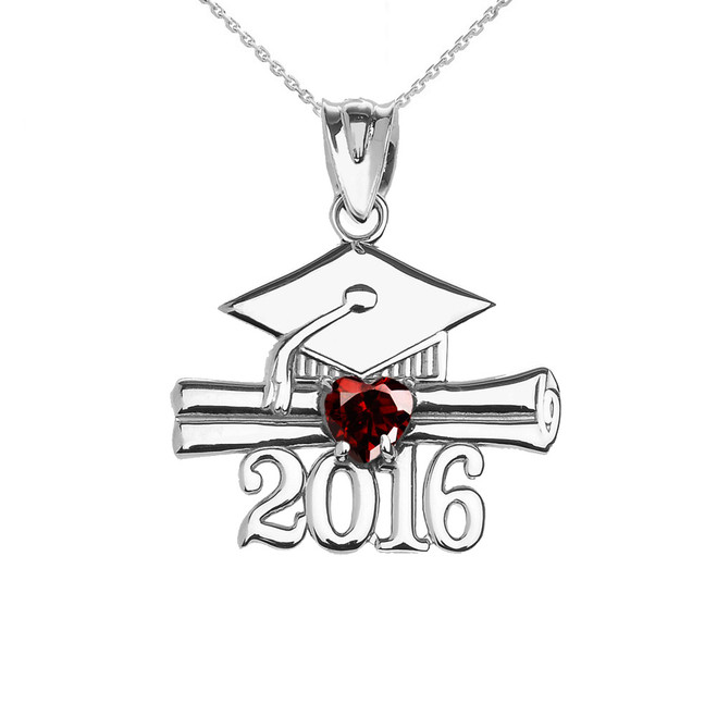 Sterling Silver Heart January Birthstone Garnet Cz Class of 2016 Graduation Pendant Necklace